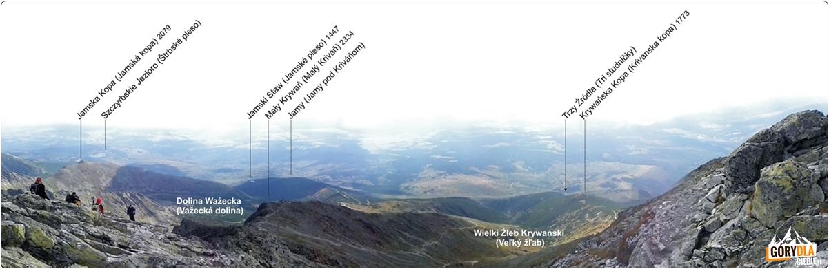 Panorama Tatr zeszczytu Krywania (południe)