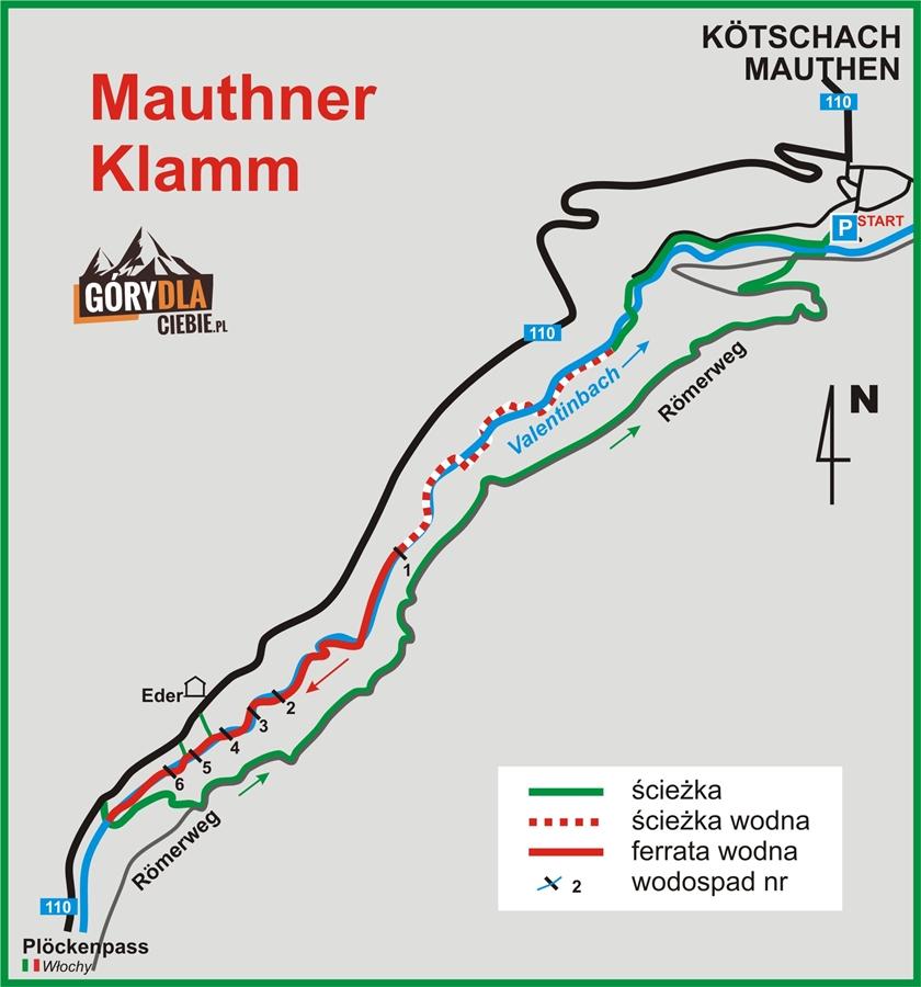 Schemat wąwozu iferraty Mauthner Klamm