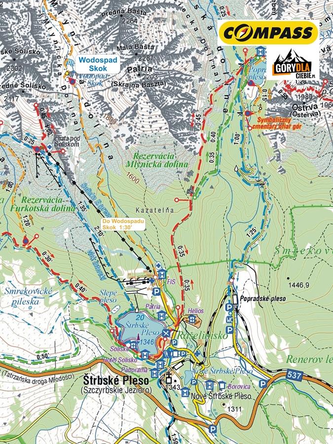 Szczyrbskie Jezioro(Štrbské Pleso) iWodospad Skok (vodopád Skok), mapa