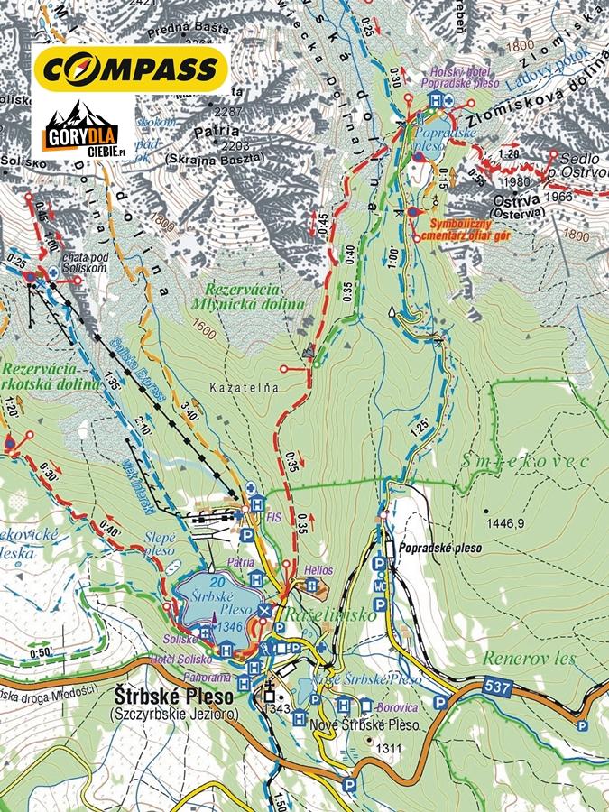 Szczyrbskie Jezioro iSymboliczny Cmentarz podOsterwą, mapa