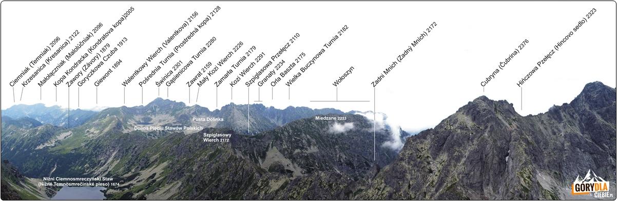 Panorama zeszczytu Koprowego Wierchu (napn. zachód)