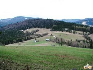 Przełęcz Przysłopek i Myszyca 877 m, w tle Gorce