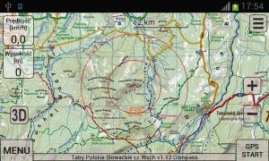 Mapa Tatr wAplikacji SeeMap (smartfon)