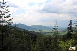 Widok z trasy na Ćwilin, Śnieżnicę i Ciecień