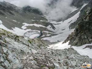 Skuty lodem Lodowy Staw (słow. Modré pleso 2170 m. n.p.m.)