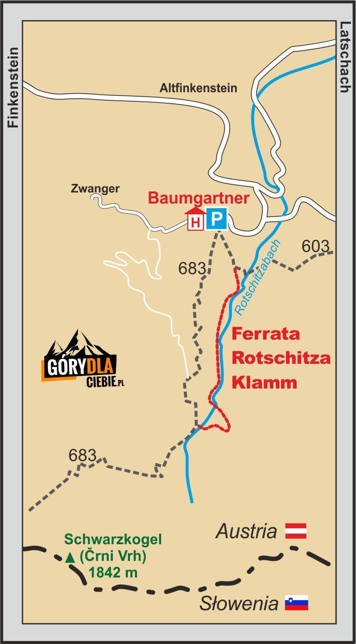 Ferrata Rotschitza-Klamm - mapa