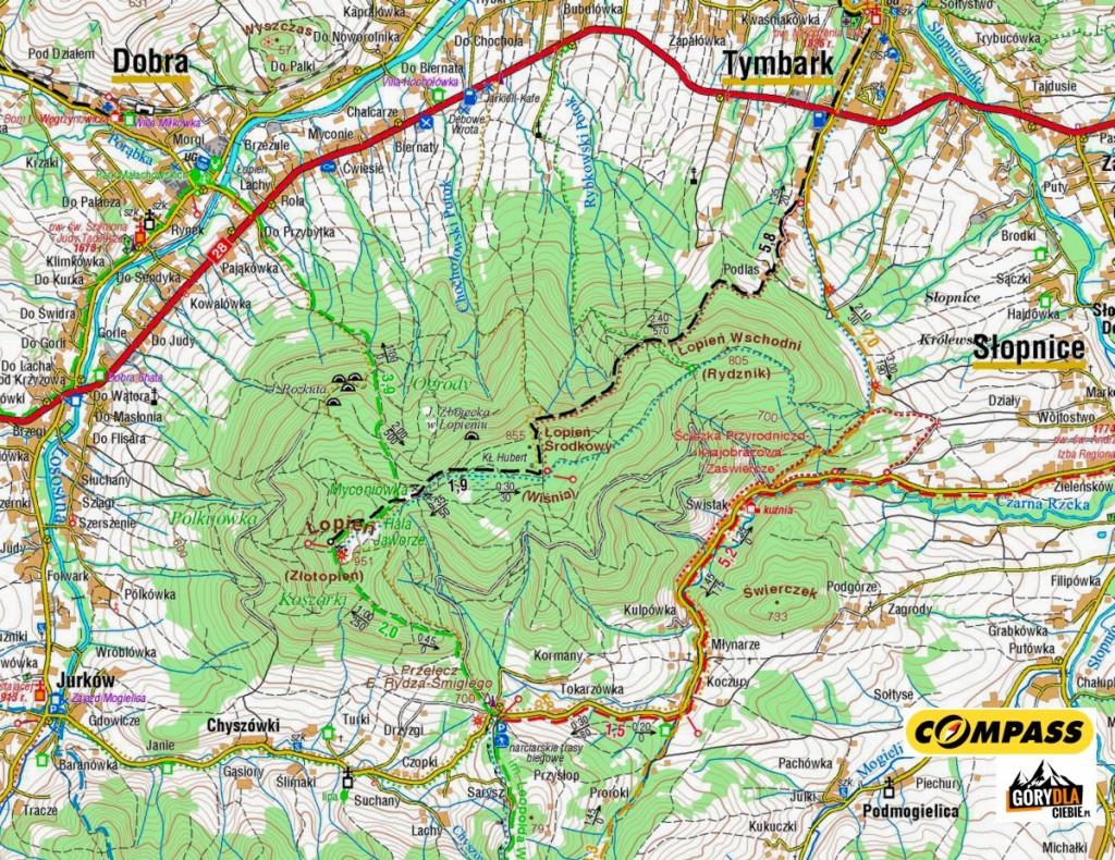 Łopień - mapa