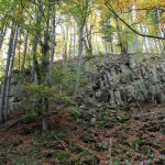 """Próg skalny opadający do """"Dziurawych Turni"""""""
