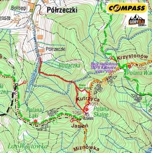 Jasień zPółrzeczek - mapa