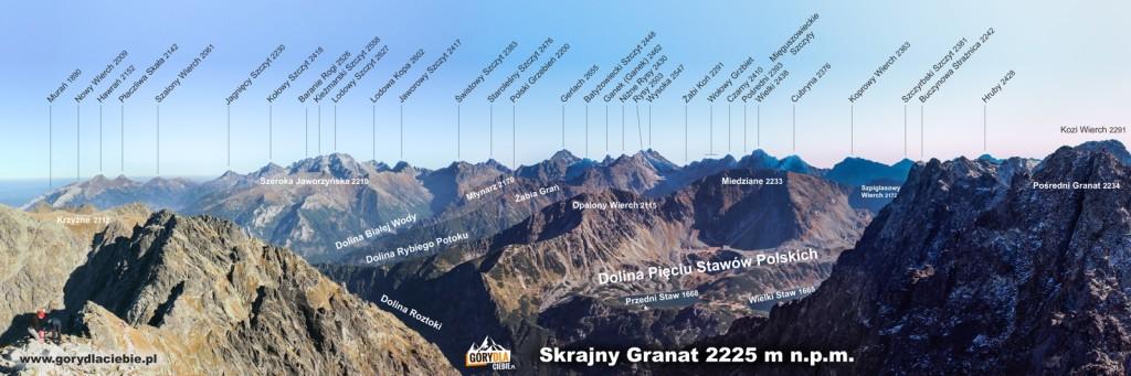 Tatry panorama zeSkrajnego Granatu nawschód