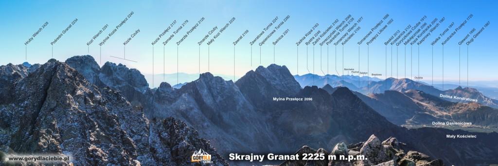 Tatry panorama zeSkrajnego Granatu nazachód