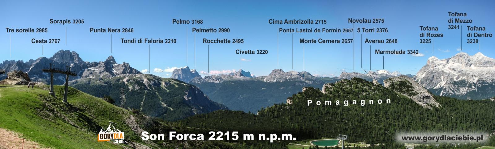 Panorama zopisem zSon Forca 2215 m