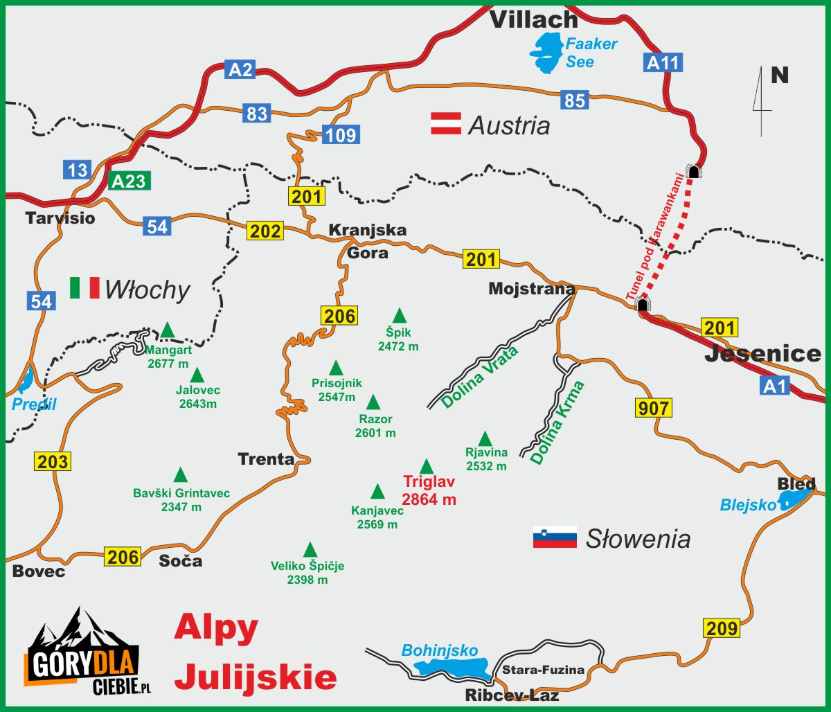 Alpy Julijskie mapa