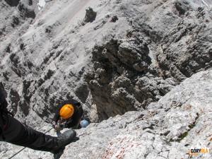 Zejście ze szczytu Cristallino d'Ampezzo