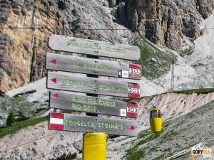 Szlaki przy wyciągu na Przełęcz Forcella Staunies