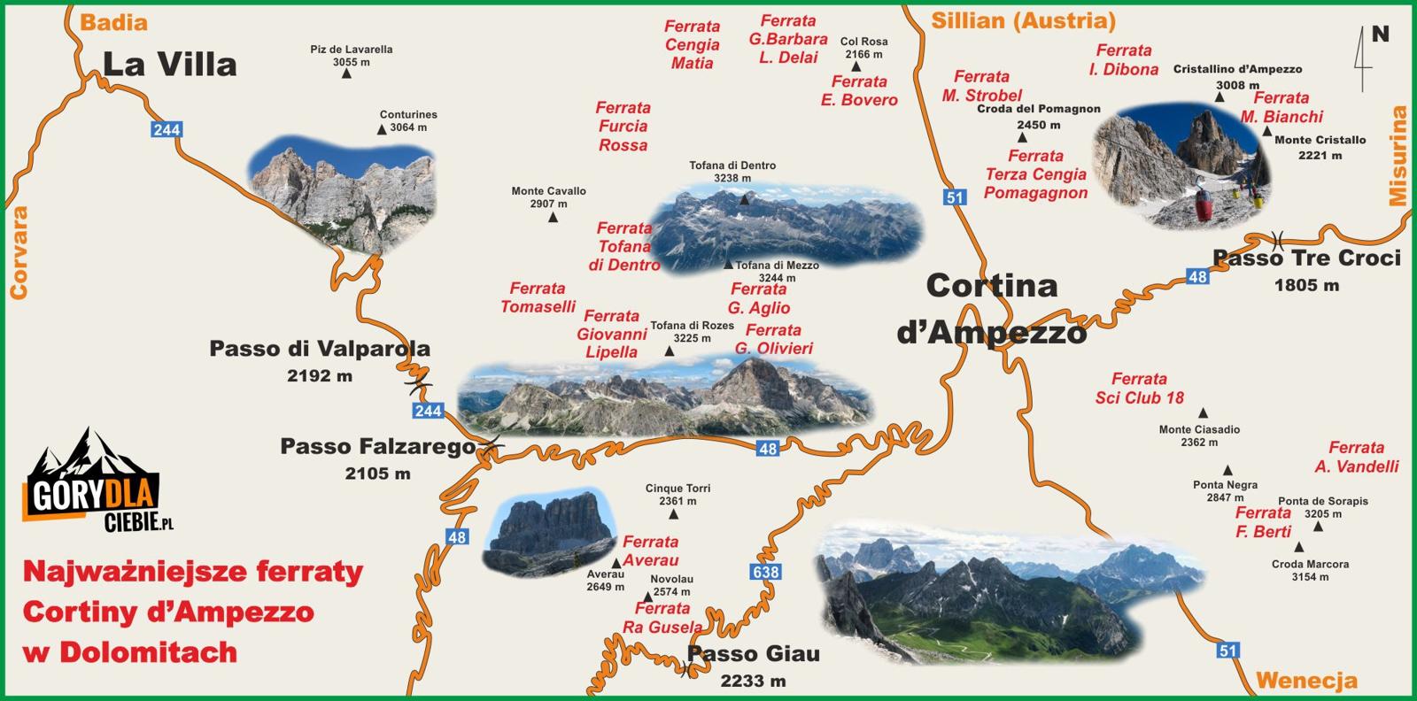 Mapa okolic Cortiny d'Ampezzo