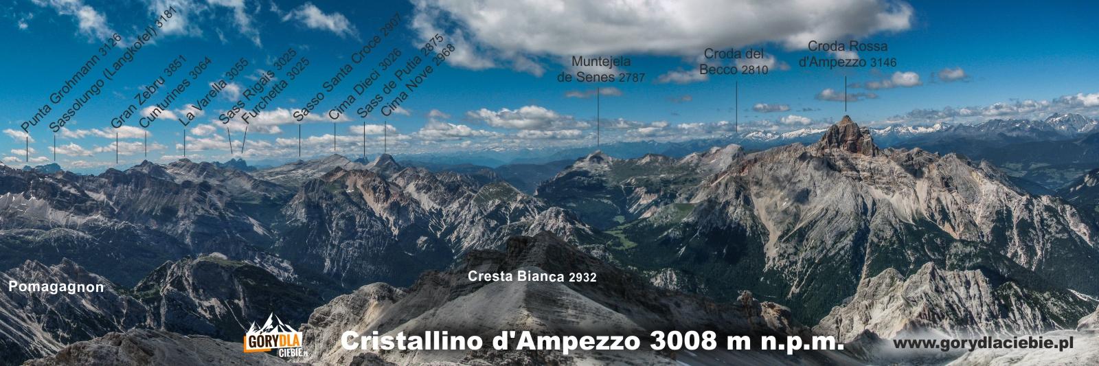 Panorama opis Cristallino zach