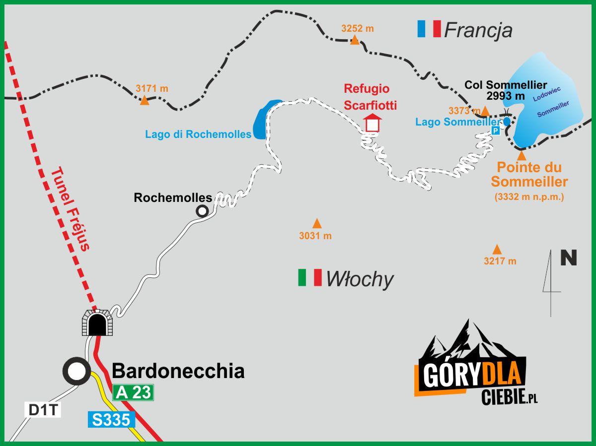 Na Przełęcz Sommeiller - mapa