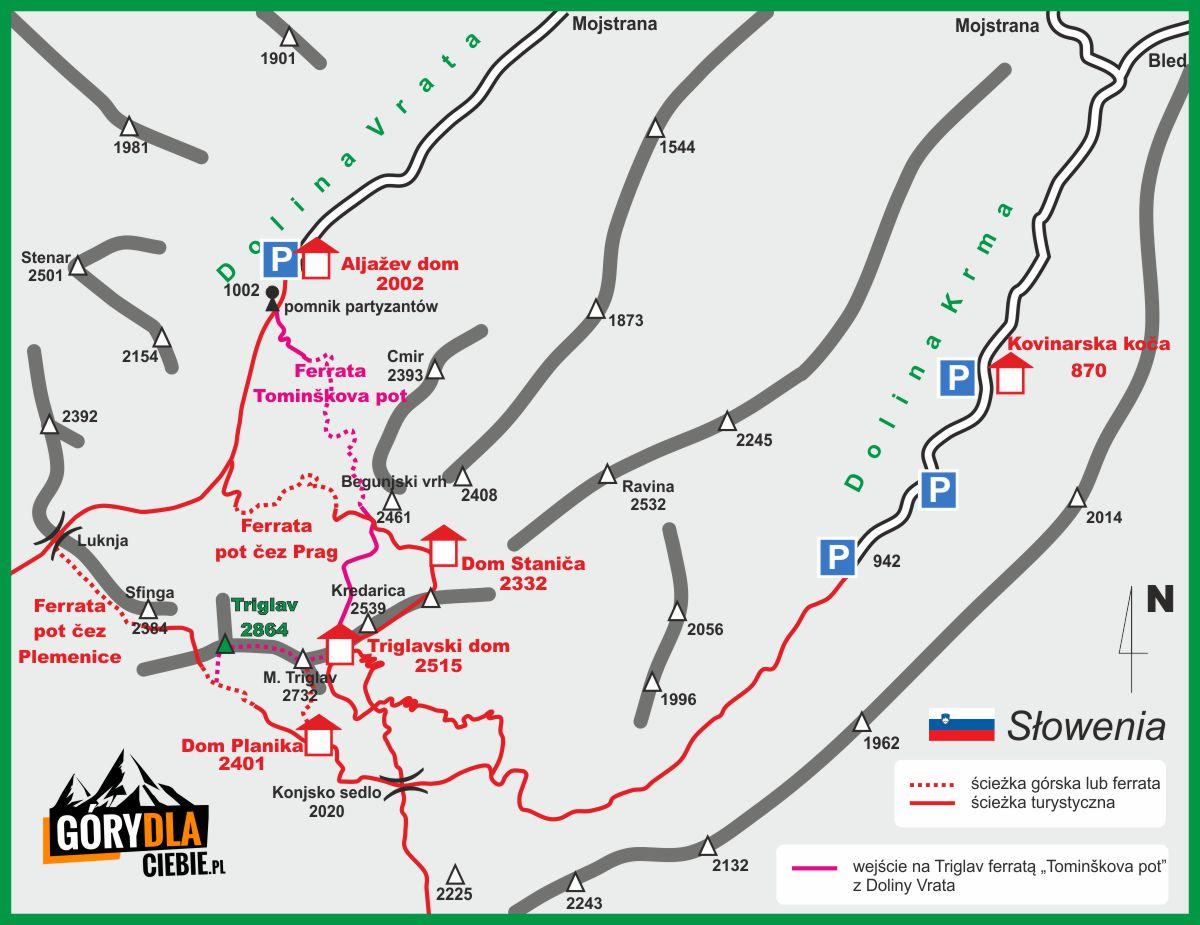 Triglav ferrata mapa