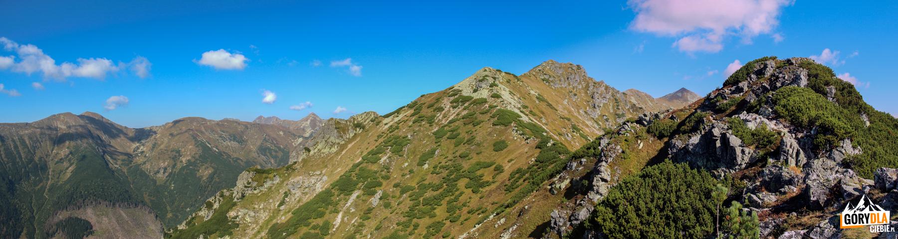 Grań Otargańców - Ostredok (1714 m), Niżna Magura (1920 m), Pośrednia Magura (2050 m), Wyżnia Magura (2095 m) iRaczkowa Czuba (słow. Jakubina, 2194 m).