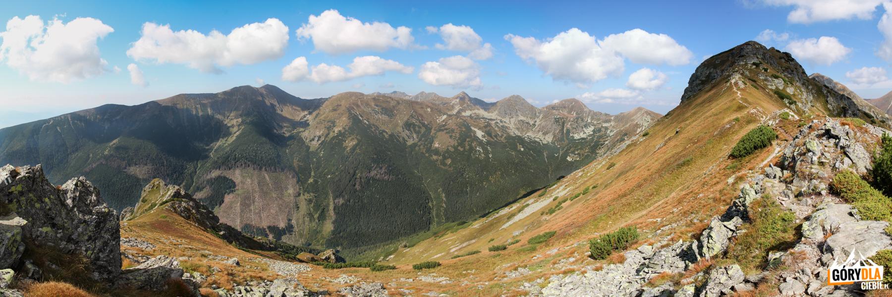 Panorama zNiżnej Magury (1920 m) naBaraniec (2185 m), Smrek (2071 m), Banówkę (2178 m), Hrubą Kopę (2166 m), Rohacze – Płaczliwy (2125 m) iOstry (2088 m), Wołowiec (2064 m) iŁopatę (1958 m)