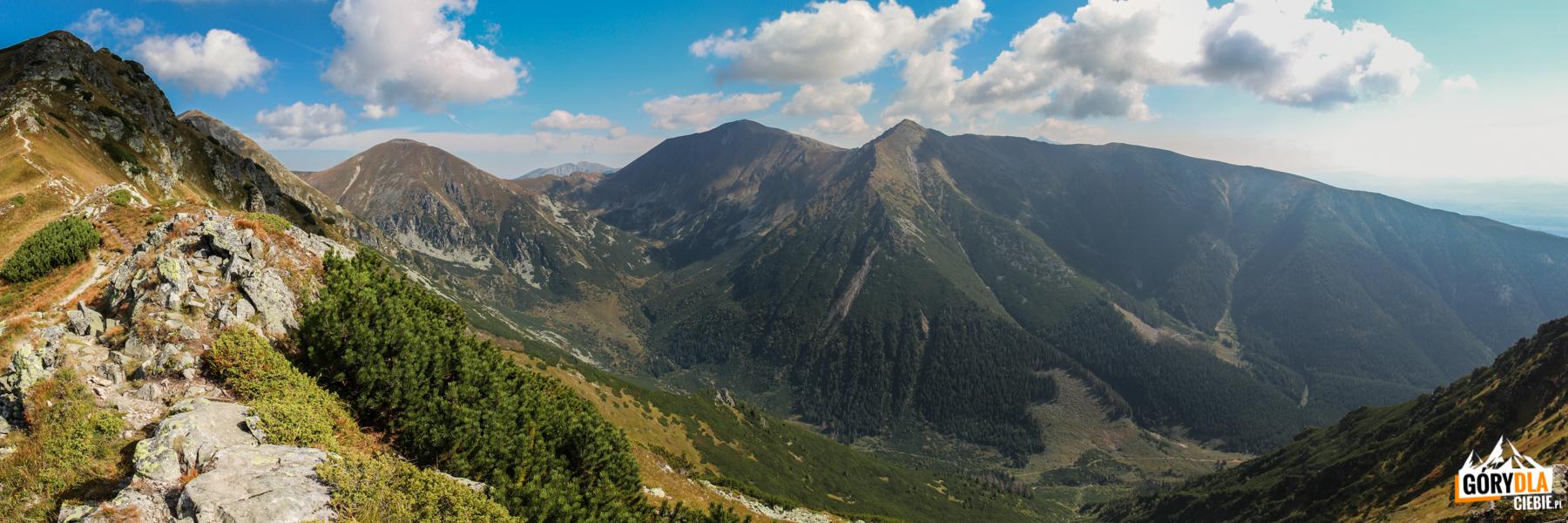 Panorama zNiżnej Magury (1920 m) Starorobociański Wierch (2167 m), Błyszcz (2159 m), Bystrą (2248 m) iZadnią Kopę (Nižná Bystrá 2162 m)