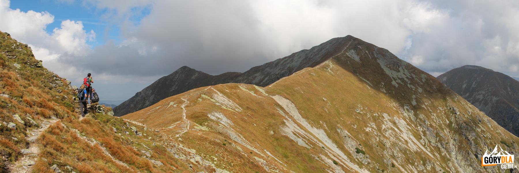 Jakubińską Przełęcz (2069 m) iRaczkowa Czuba (2194 m), dalej Jarząbczy Wierch (Hruby vrch) 2137 m