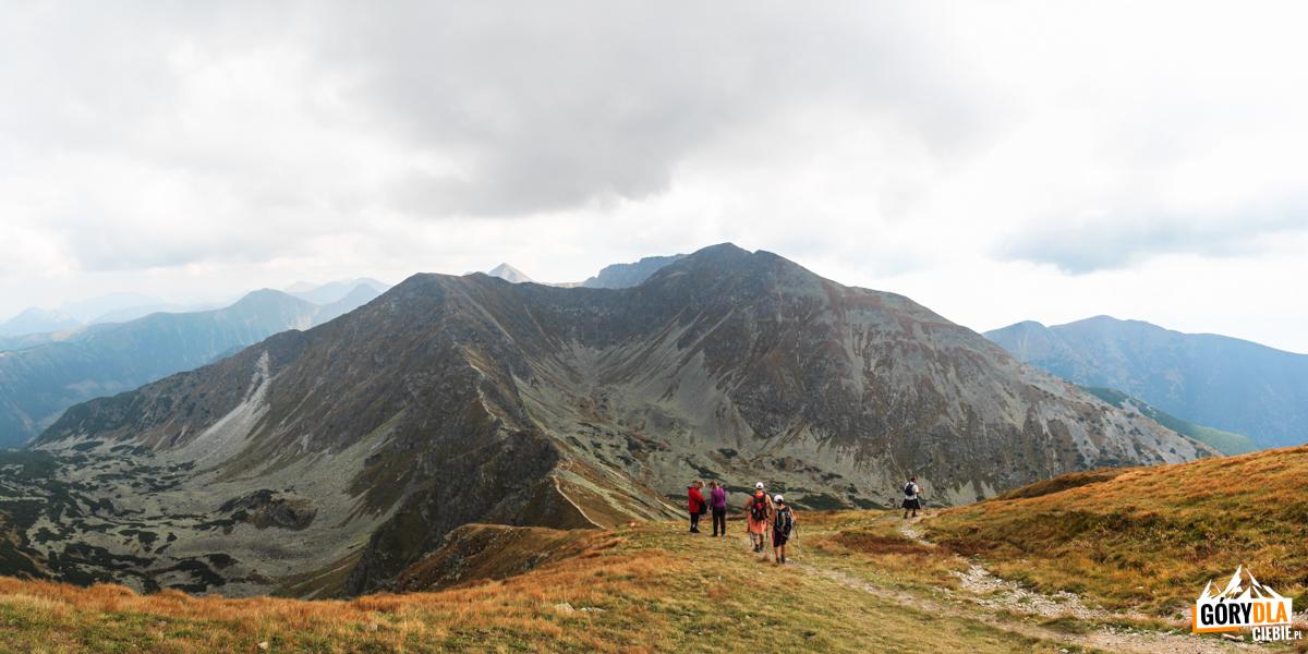 Widok zMałego Salatyna naPrzełęcz Dzwon (1907 m), Spaloną Kopę (2083 m), Pachoł (2167 m) icałą grań Rohaczy