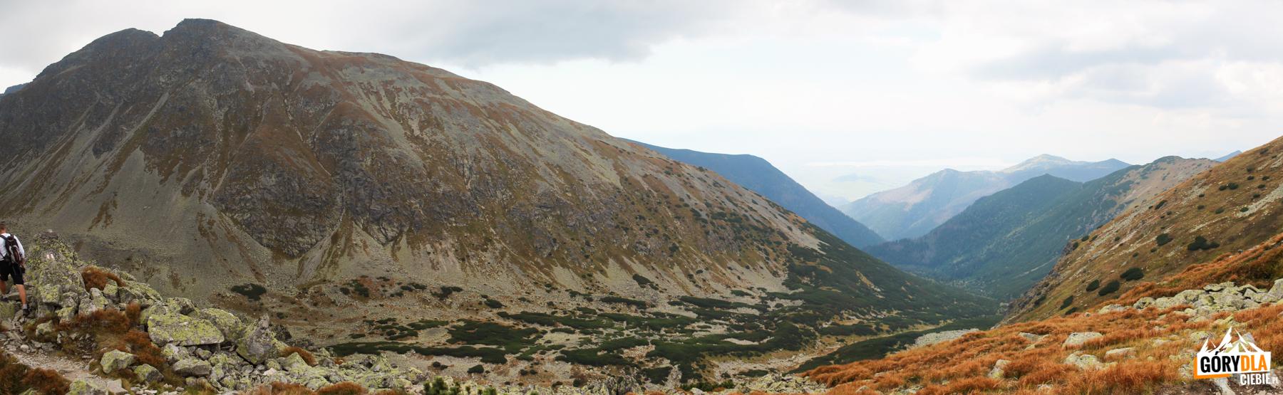 Dolina Głęboka inad nią Pahoł (2167 m) widziane zPrzełęczy Dzwon (1907 m)