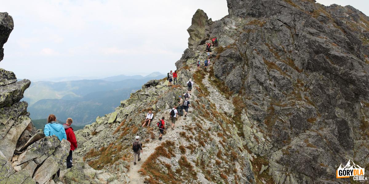 Na grani pomiędzy Przełęczą Dzwon (1907 m), aSpaloną Kopą (2083 m)