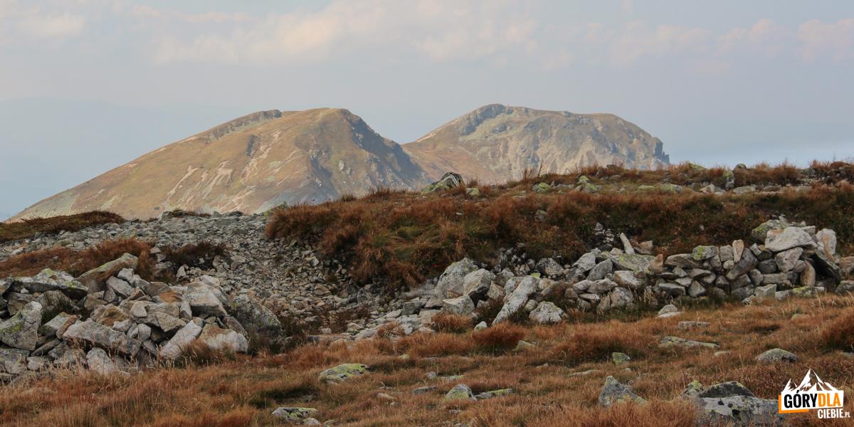 Szczyty Salatyna (2048 i2046 m) widziane zeSpalonej Kopy (2083 m)