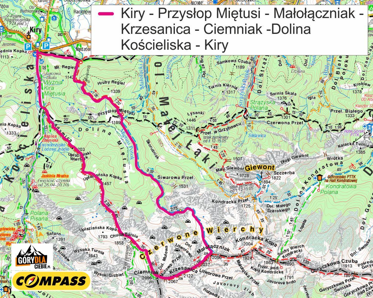 Z Doliny Miętusiej naCzerwone Wierchy - mapa