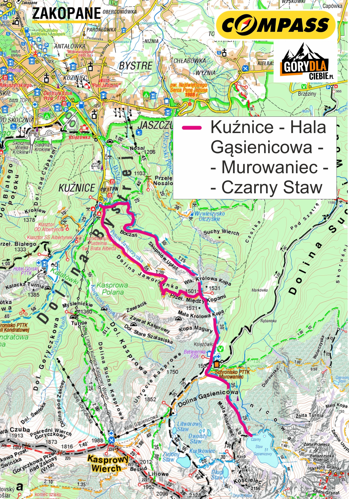 Hala Gąsienicowa iCzarny Staw - mapa