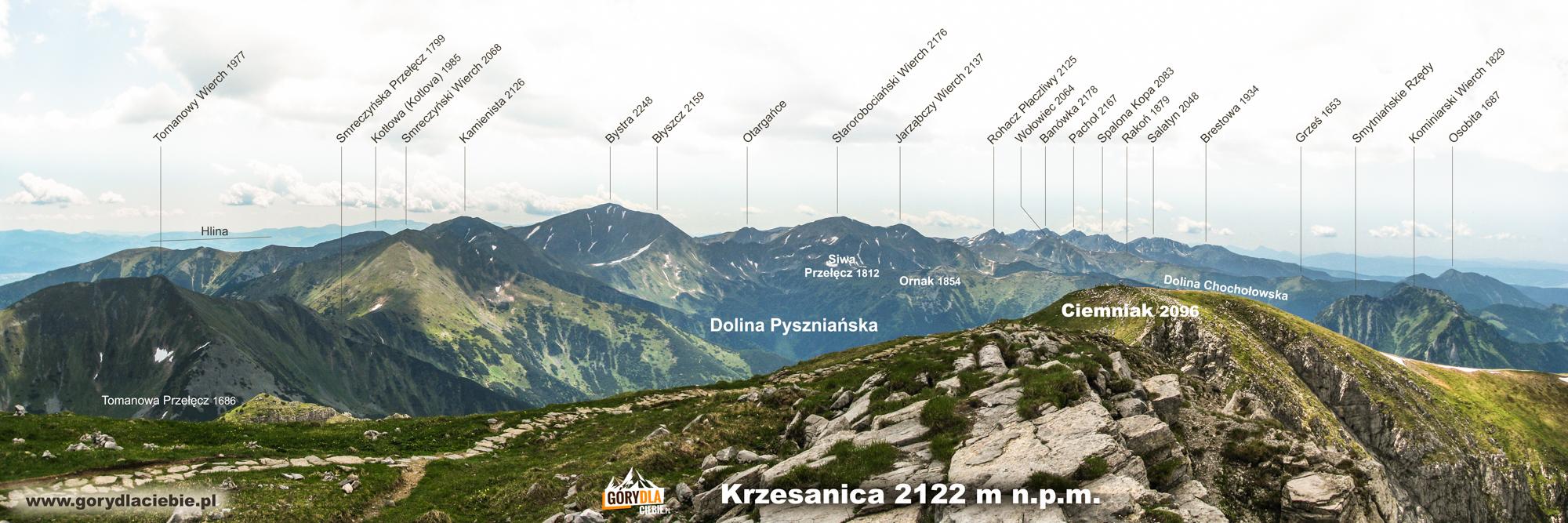 Panorama Tatr Zachodnich zeszczytu Krzesanicy (2122 m)