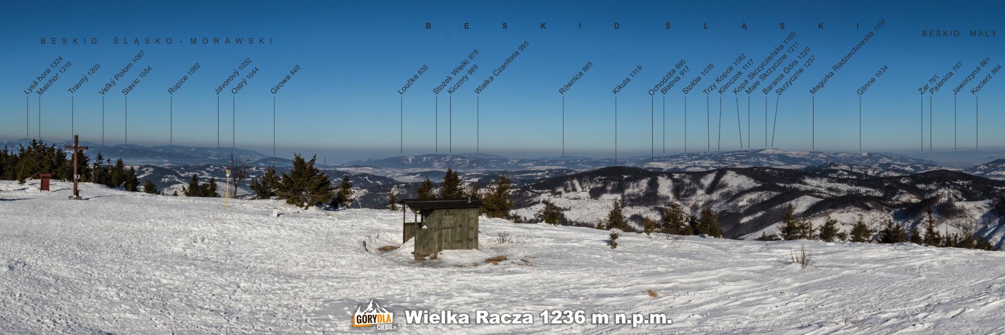 Panorama zeszczytu Wielkiej Raczy (1236 m) napółnoc