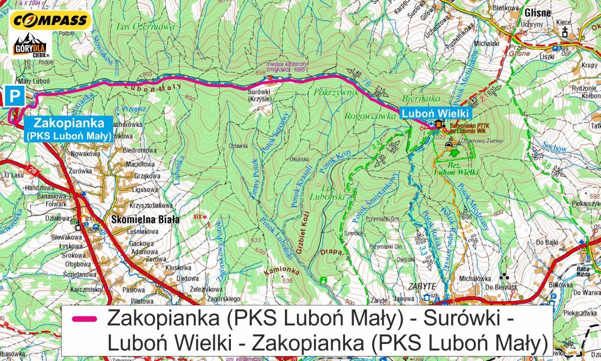 Luboń Wielki przez Surówki - mapa trasy
