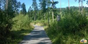 Żółty szlak z Korbielowa na Halę Miziową - uwaga zakręt w lewo