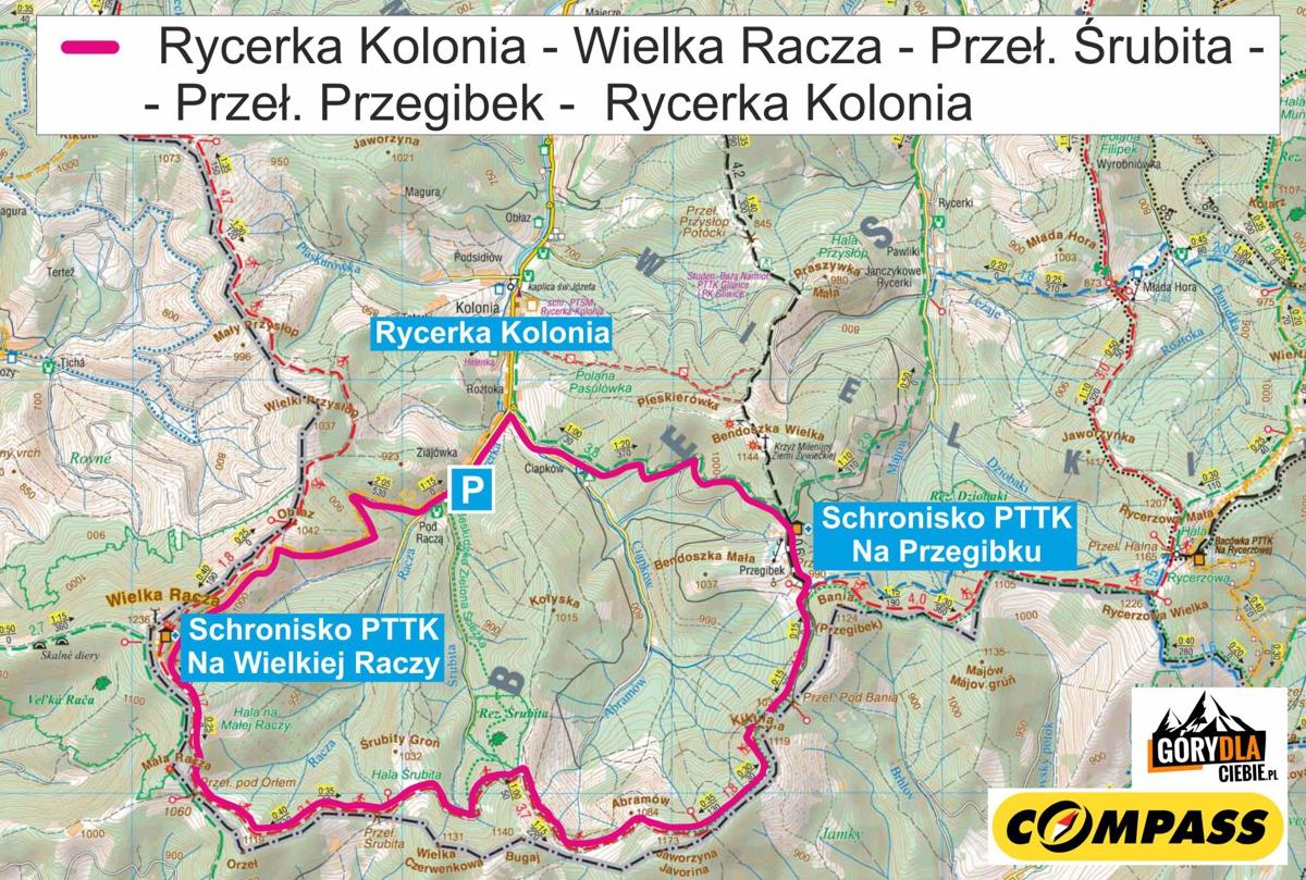 Wielka Racza - Przegibek, mapa trasy