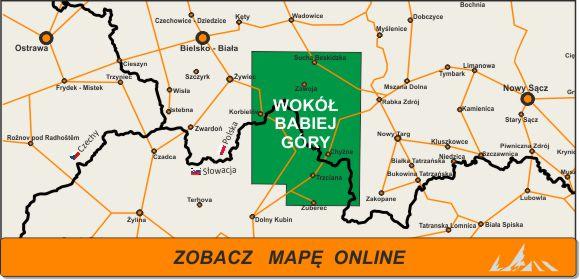 Mapa zakres Babia Góra