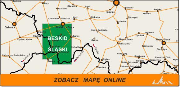 Mapa zakres Beskid Śląski