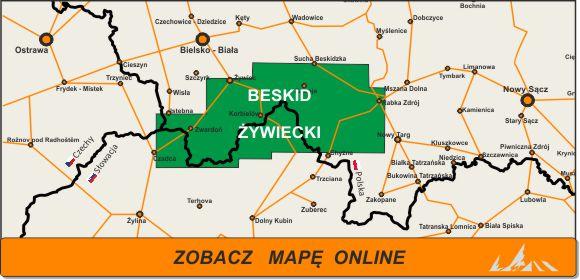 Mapa zakres Beskid Żywiecki