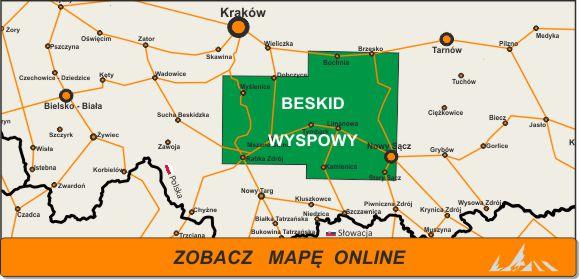 Mapa zakres Beskid Wyspowy