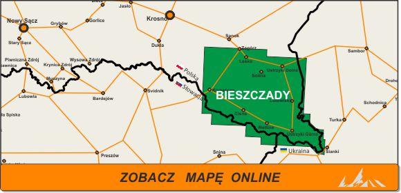 Mapa zakres Bieszczady