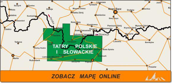 Mapa zakres Tatry Polskie iSłowackie