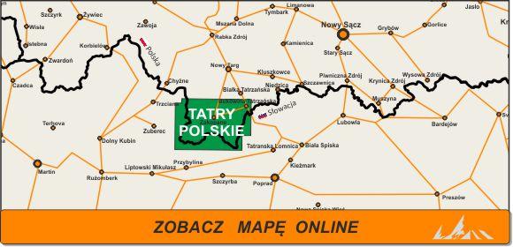 Mapa zakres Tatry Polskie iZakopane