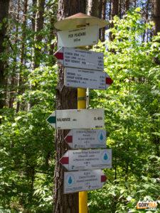 Skrzyżowanie szlaków pod Płaśnią (słow. pod Plašnou) 840 m