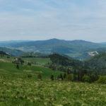 Widok z Durbaszki (934 m) - od lewej: Pieniny Właściwe (Trzy Korony), grań Małych Pienin (Wysoki Wierch), Gorce (Lubań), Beskid Wyspowy (Mogielica) i Pasmo Przehyby