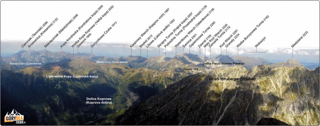 Panorama Tatr ze szczytu Krywania (pn. zachód)