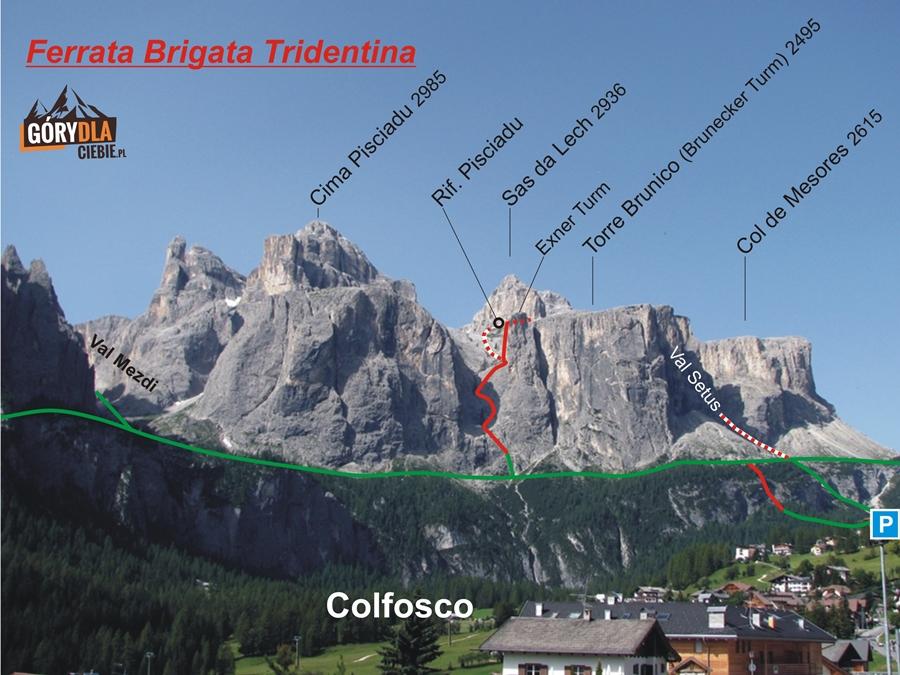 Ferrata Brigata Tridentina i otoczenie