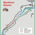 Schemat wąwozu i ferraty Mauthner Klamm